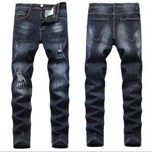 NEW Men's Dark Blue Distressed Jeans